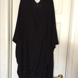 Lane Bryant Black Wrap with Pleather Fringe